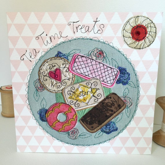 Tea Time Treats-Greeting Card- handfinished