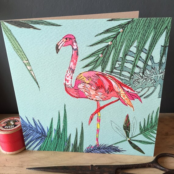 Flamingo-Greeting Card- handfinished
