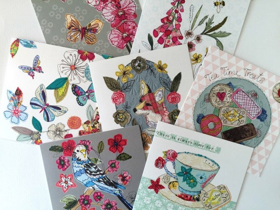 Set  of 5 Greeting Cards of your choice- handfinished