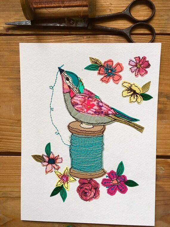 Sewing Bird- stitched mixed media- original art