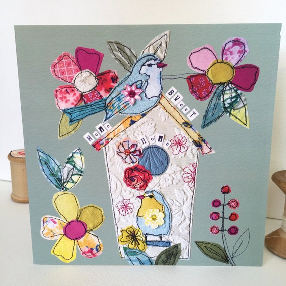 Birdhouse-Greeting Card- handfinished