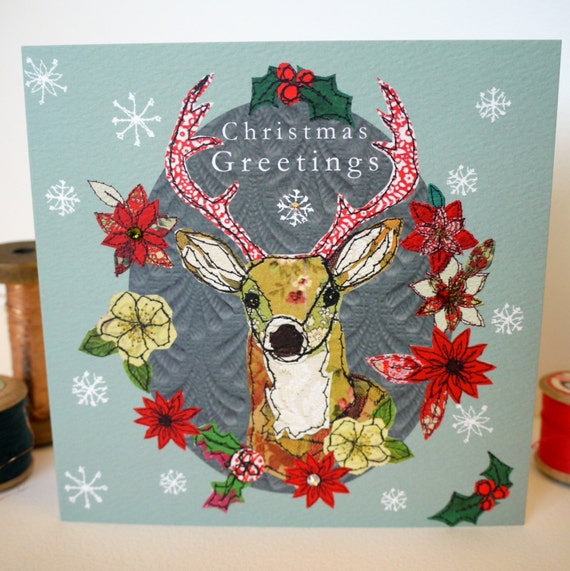 Christmas Stag-Greeting Card- handfinished