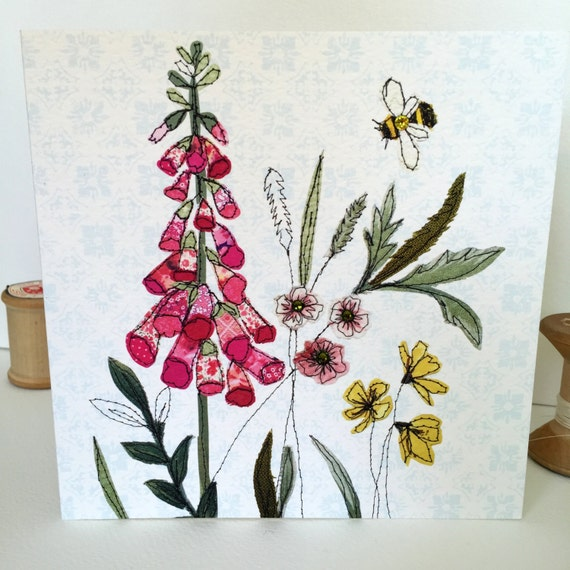Foxglove-Greeting Card- handfinished
