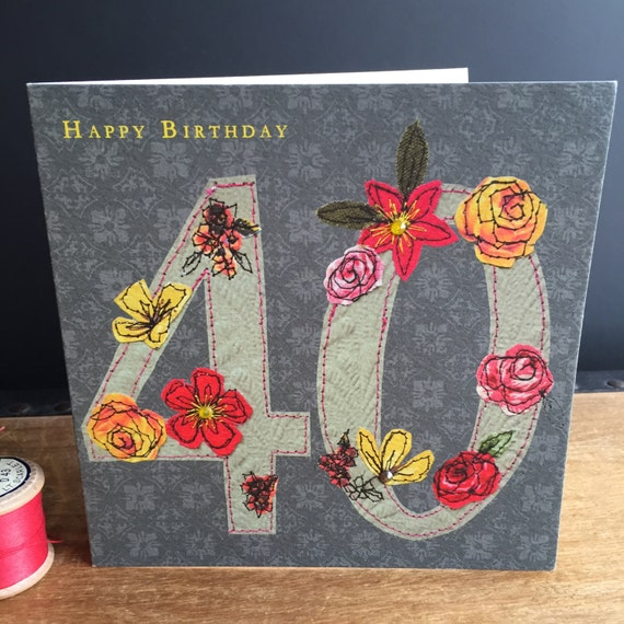 Age 40-Greeting Card- handfinished