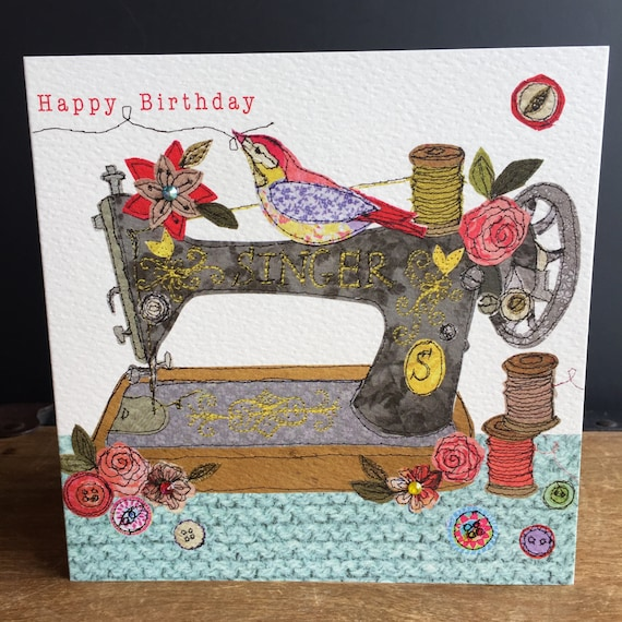 Sewing machine-Greeting Card- handfinished