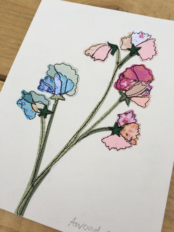 Sweetpeas- Stitched Original art