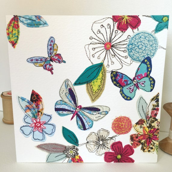 Butterflies-Greeting Card- handfinished