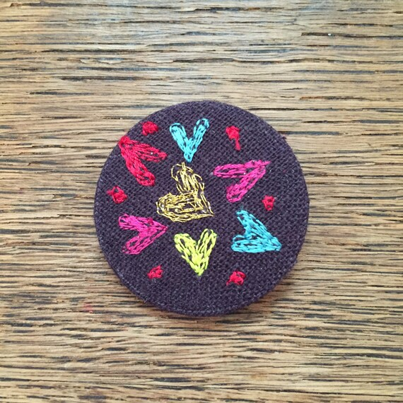 Multi hearts badge- linen- stitched