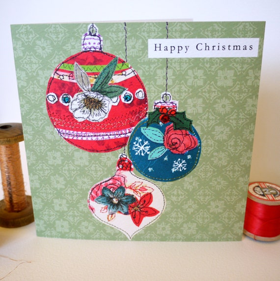 Beautiful Baubles-Greeting Card- handfinished