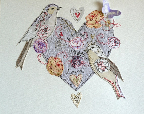 Bespoke 'Love Birds Mr & Mrs'- mixed media original artwork
