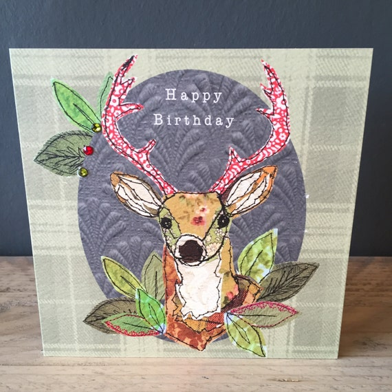 Tartan Stag-Greeting Card- handfinished
