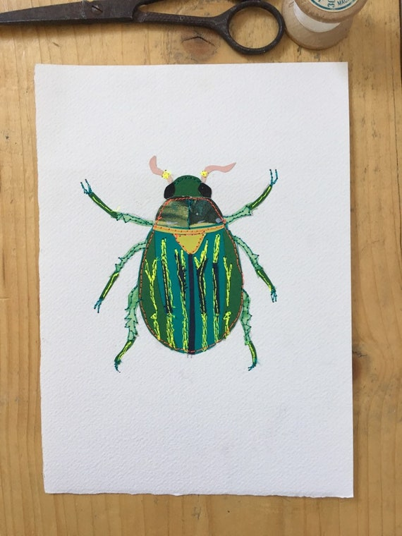 Beetle original art-mixed media-stitched