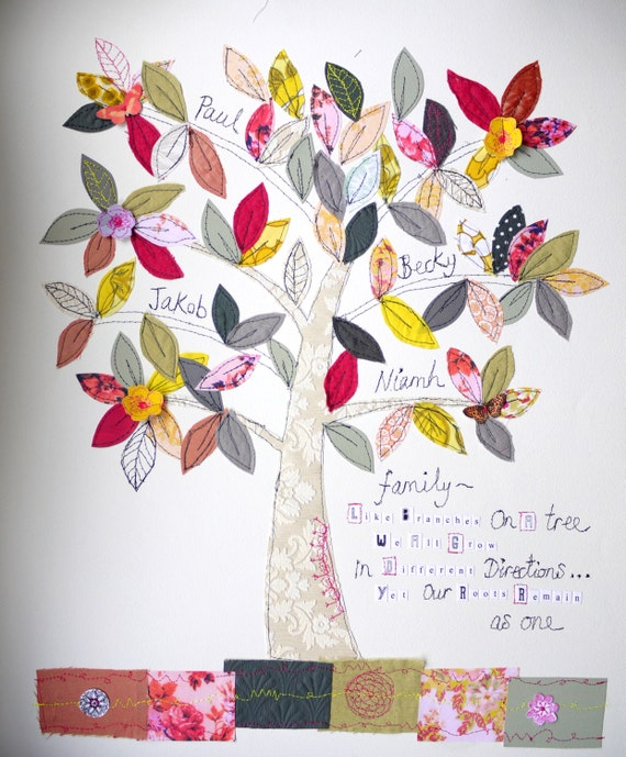 EXTRA LARGE Family Tree- mixed media original art