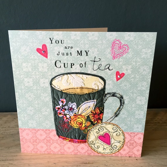 Tea Love-Greeting Card- handfinished