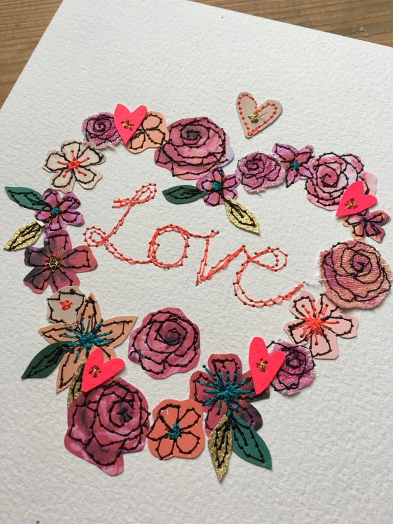 Love Heart-floral heart -stitched- mixed media- original artwork