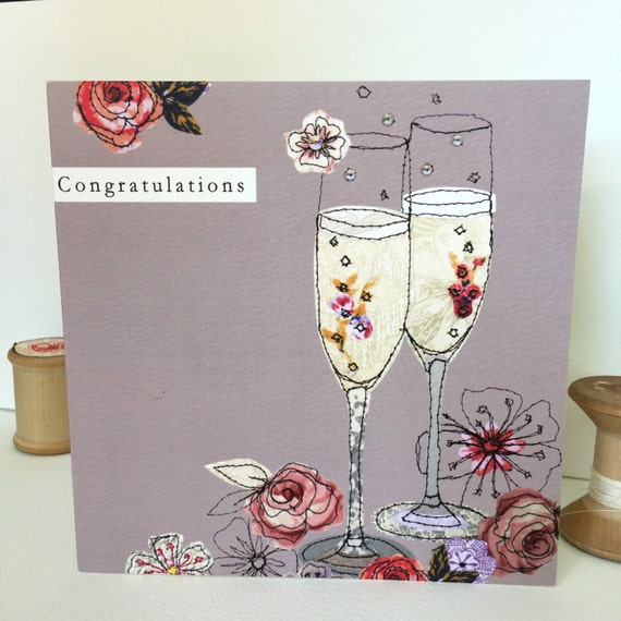 Congrats Champers-Greeting Card- handfinished