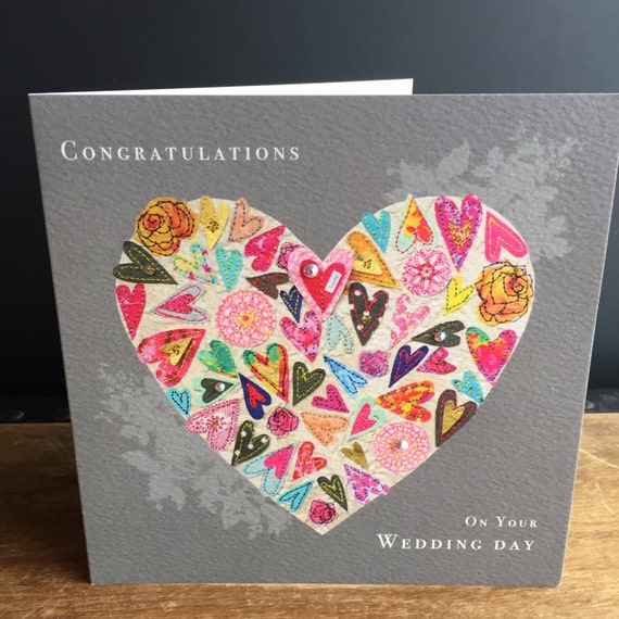 Wedding heart-Greeting Card- handfinished