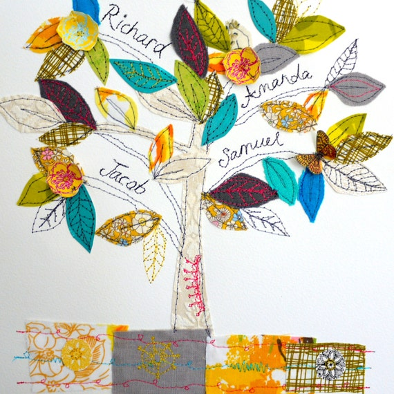 Family Tree- mixed media original art