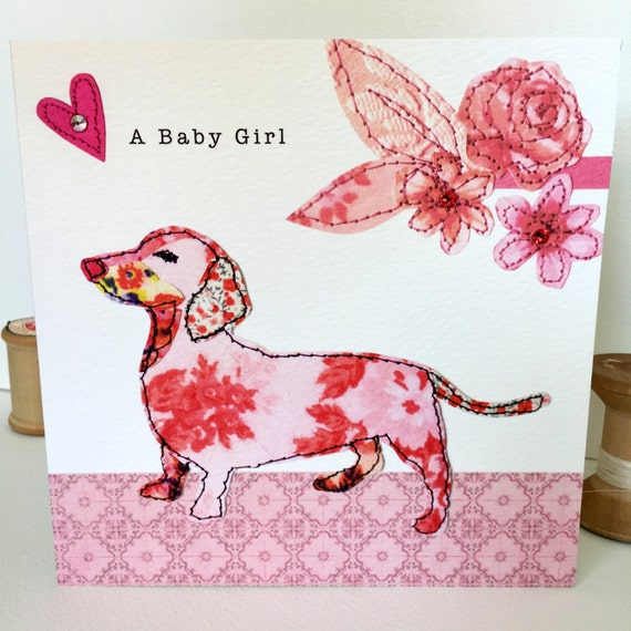 New baby girl-Greeting Card- handfinished