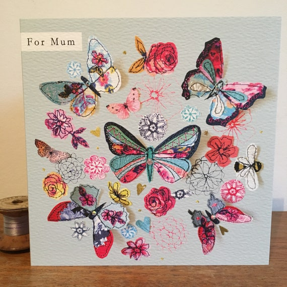 Mum butterflies-Greeting Card- handfinished