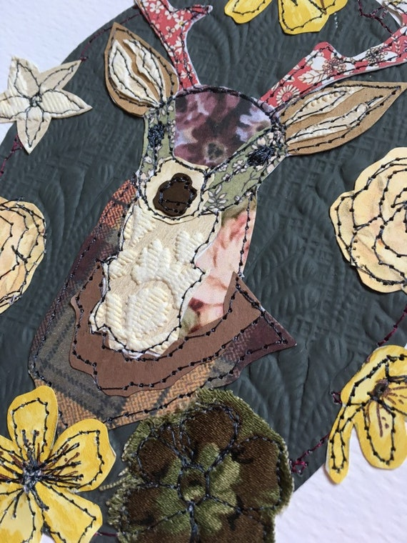 Floral Stag -stitched- mixed media- original artwork