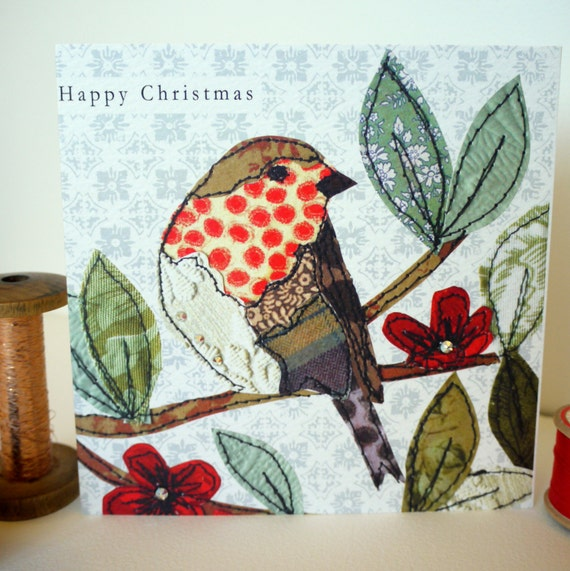 Robin on a branch-Greeting Card- handfinished