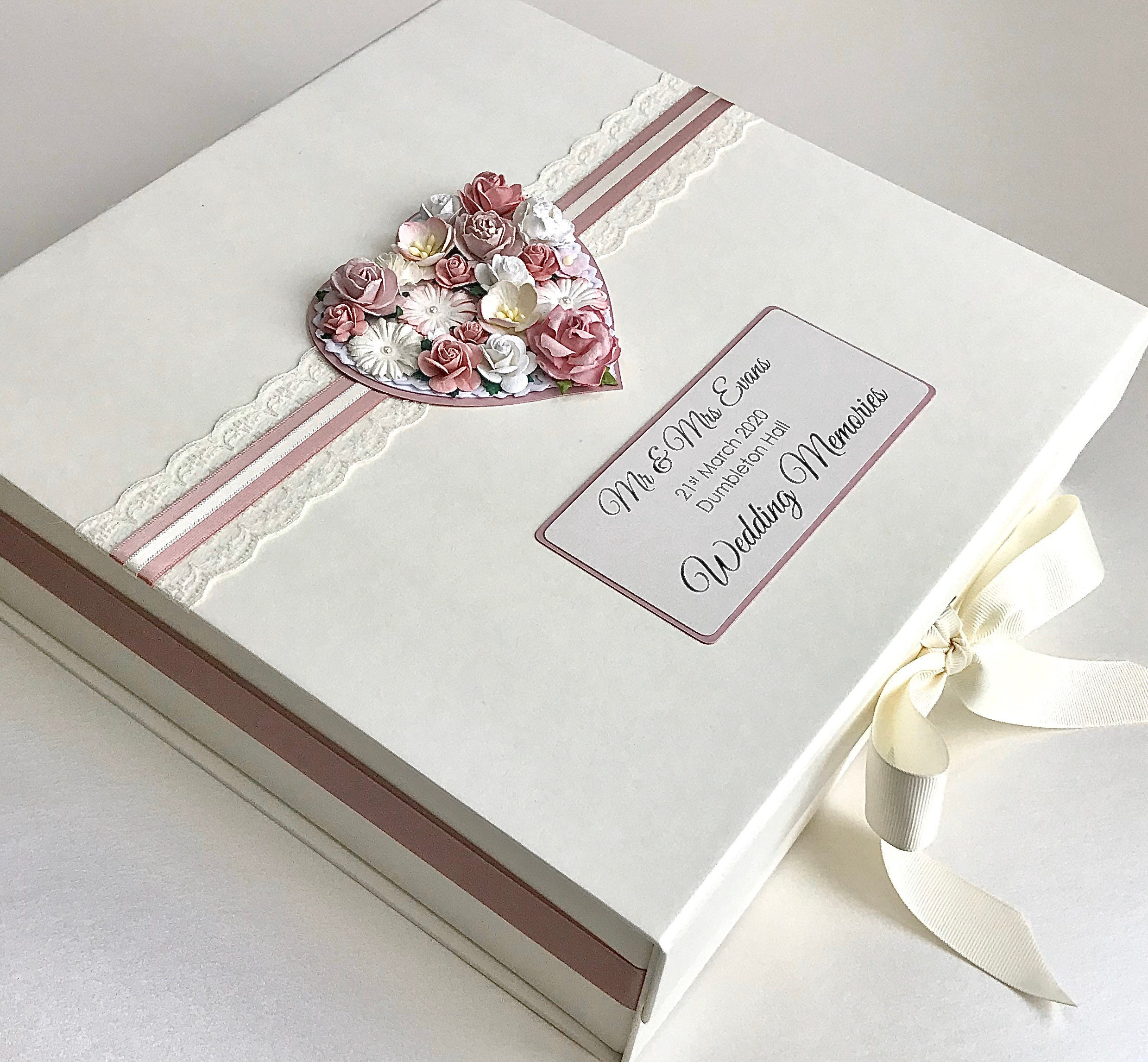 Personalised Wedding Keepsake Box Wedding Gift With Floral Heart Made To Order