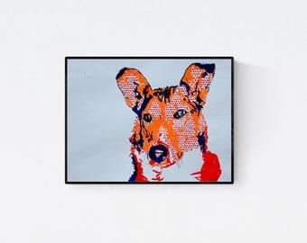 Geschenk für Hundefans - Pop Art Illustration  - Portrait nach Foto - Collie Portrait - Haustier Portrait - Hundeportrait nach Foto