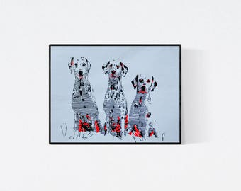 Geschenk für Hundefans - Hundehalter - Dalmatiner Illustration - Dalmatiner Portrait - Original Kunstwerk - signiert