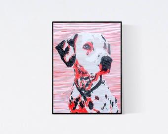 Hand gefertigte Pop Art Illustration: Dalmatiner - Pop Art Illustration - Handsigniert - Unikat, - Hundeportrait nach Foto