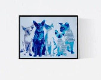 Gift for cat lovers - cat drawing