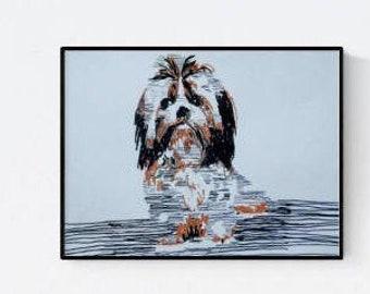 Shih Tzu  -  dog portrait - custom pet portrait - personalized pet - dog illustration - dog portraits - dog lover gift