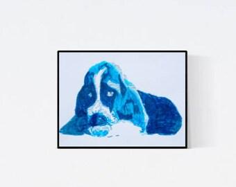 Basset : Geschenk für Hundefans - Pop Art Illustration  - Zeichnung - Portrait nach Foto - Hundeportrait