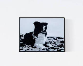 Geschenk für Hundefans - Pop Art Illustration Border Collie - Border Collie Zeichnung -  Zeichnung - Pop Art Illustration - Collie Porträt