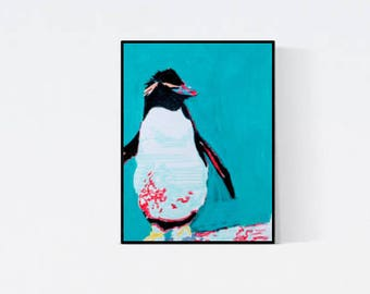 Hand gefertigte Pop Art Illustration: Pinguin 03, Original Bild, handsigniert , Penguin Wall Art, Unikat,