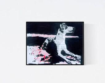 Geschenk für Hundefans - Pop Art Illustration Kurzhaar Collie - Kurzhaar Collie - Zeichnung - Pop Art Illustration - Collie Porträt