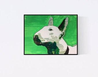 Bull Terrier: Geschenk für Hundefans - Pop Art Illustration  - Zeichnung - Portrait nach Foto - Hundeportrait - Tierportrait - Hund -Hunde