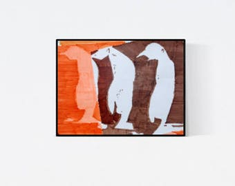 Hand gefertigte Pop Art Illustration: Pinguins, Original Bild, handsigniert , Unikat