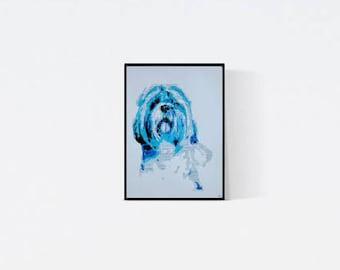 Geschenk für Hundefans - Shih tzu Porträt - Shih tzu Zeichnung - porträt - Shih tzu Illustration - Shih tzu Porträt