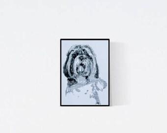 Geschenk für Hundefans - Shih tzu Porträt - Shih tzu Zeichnung -  Zeichnung - Shih tzu Illustration - Shih tzu Porträt