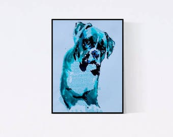 Hand gefertigte Pop Art Illustration: Boxer - Pop Art Illustration - Handsigniert - Unikat,- Hundeportrait nach Foto