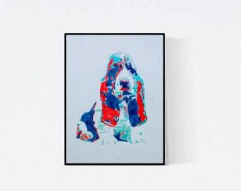 Pet Portrait : Basset - dog portrait - pet lover gift - custom pet portraits - custom dog portrait - personalized pet - dog illustration