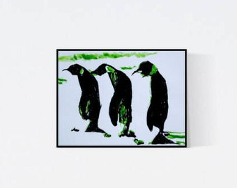 Hand gefertigte Pop Art Illustration: Pinguin 02, Original Bild, handsigniert , Unikat
