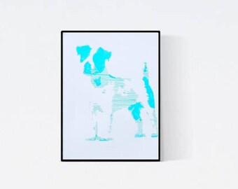 Hand gefertigte Pop Art Illustration: Jack Russel Terrier - Pop Art Illustration - Handsigniert - Unikat,- Hundeportrait nach Foto