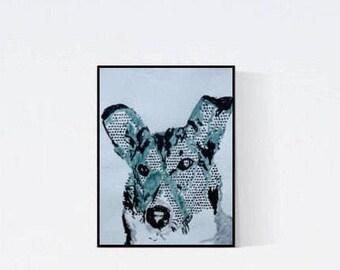 Geschenk für Hundefans - Pop Art Illustration Kurzhaar Collie - Kurzhaar Collie - Zeichnung -  Zeichnung - Pop Art Illustration