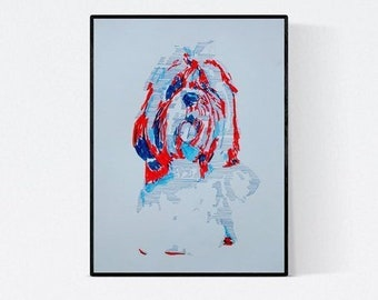 Dog art:  Shih Tzu, original art, hand-signed, unique piece,