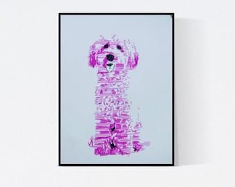 Dog Art: Pink dog - dog portrait - pet portrait - personalized pet - dog art - pet lover gift - custom pet portrait - illustration - pop art