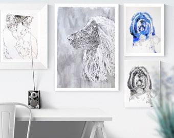 Pet memorials - custom dog portrait  - dog art - custom pet portraits - dog painting - pet memorial - pet portraits - dogs