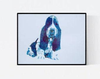 Basset: custom dog portrait - personalized pet - dog illustration - dog lover gift - custom pet portraits - custom dog portraits - dog
