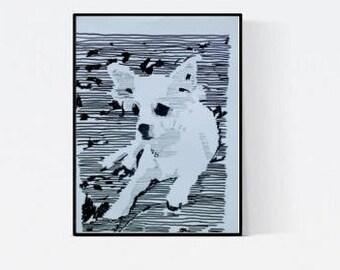 Chihuahua - illustration by pet portrait artist - dog portrait - pet lover gift - custom pet portraits - personalized pet - pet portrait